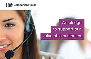 A person wearing headphones with words saying 'We pledge to support our vulnerable customers'