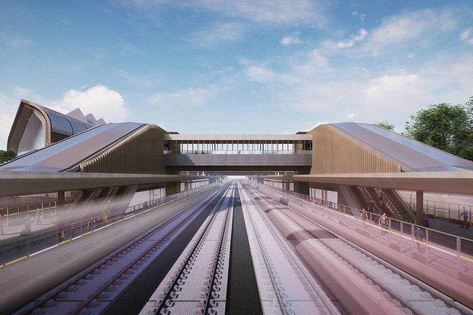 CGI showing the tracks leading into Interchange Station