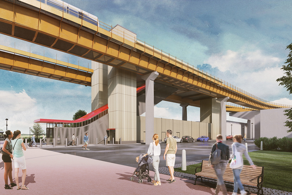 CGI showing the automated people mover