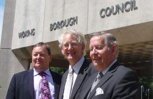 Andrew Stunell with councillors outside Woking Borough Council