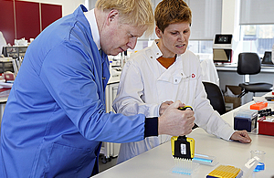PM Boris Johnson visits the Mologic laboratory in Bedford, which is developing a new rapid diagnostic test for coronavirus with support from UK aid.