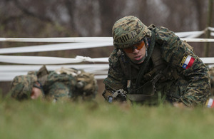 The team from the Chilean Military Academy manoeuvre through an assault course on day one of the Sandhurst military skills competition held at West Point [Picture: West Point Public Affairs Office]