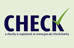 The word check in large letters with the message 'check a charity is registered at www.gov.uk/checkcharity'.