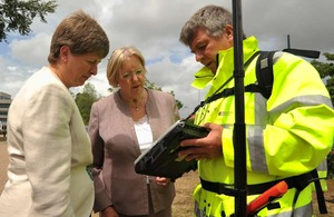 Baroness Hanham with an Ordnance Survey surveyor
