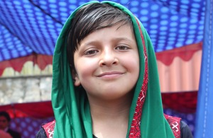 An Afghan girl at today's launch of the new UK aid education programmes. Picture: Emily Poyser/DFID