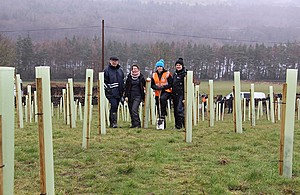 Representatives from some of the partner organisations involved in the work at the tree planting event