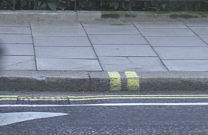 Close up view of pavement and kerb