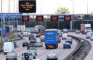 Smart motorway showing dynamic hard shoulder