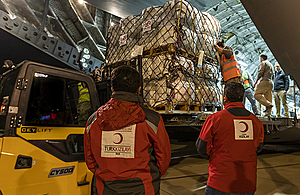 UK aid for people affected by the conflict in Syria is unloaded from an RAF C17 aircraft in Hatay, Turkey, 11 March 2020. Picture: MOD/SAC Tom Cann