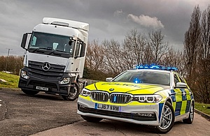 Image showing a HGV supercab cab with police vehicle