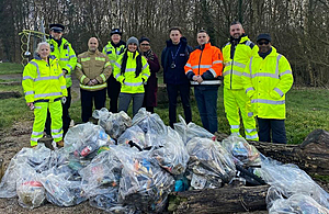 Image showing some of the volunteers from the M6 Junction 10 scheme