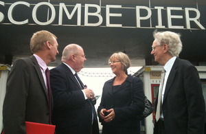 Eric Pickles and Andrew Stunell in front of Boscombe Pier
