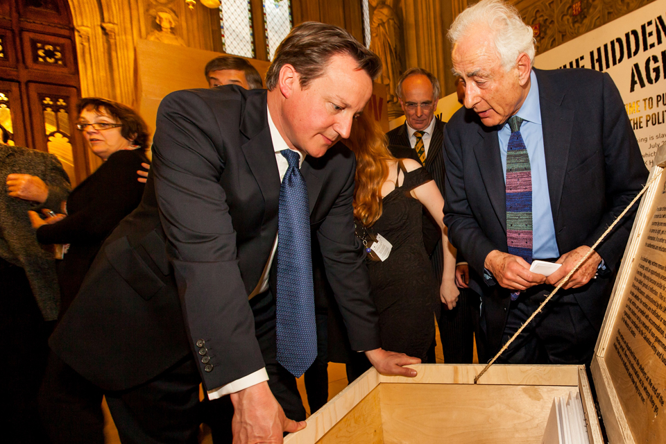 David Cameron at the trafficking exhibition