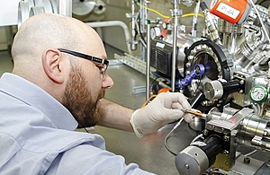 Anthony Hollingsworth researching diamond battery technology at the H3AT facility
