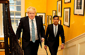 Chancellor and Prime Minister climbing the stairs