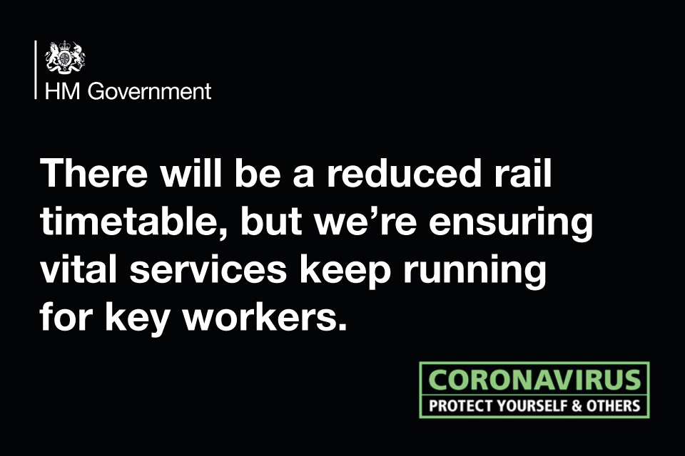 Rail services social graphic saying services will be reduced