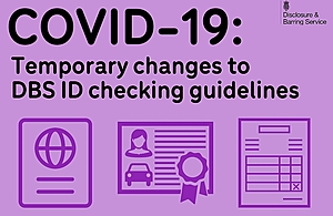 Graphic showing various forms of ID, reading 'temporary changes to ID checking guidelines'.