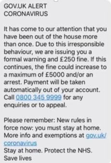 Example of a coronavirus (COVID-19) SMS scam that tells people they have been fined £250.
