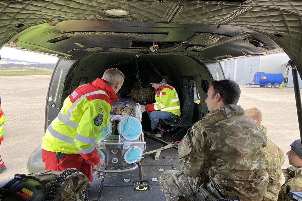 Army puma team supporting the Scottish Ambulance Service with trial of the Epishuttle Medical System.