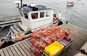 Moored fishing boat with crab and lobster pots
