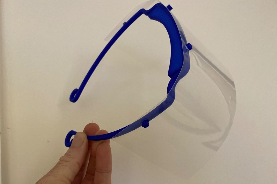 A close up image of one of the visors made using the 3D printer