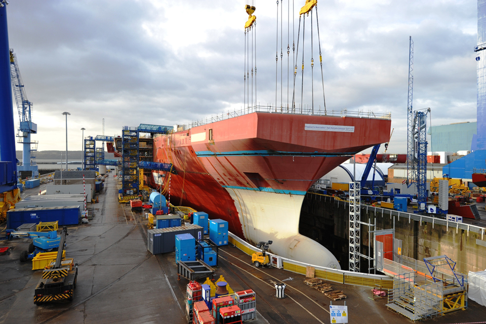 Bow unit of the aircraft carrier HMS Queen Elizabeth at Rosyth in Scotland