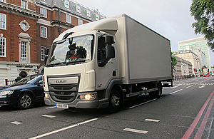 Lorry in city