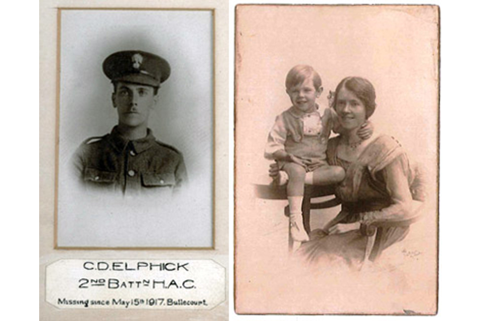 From left: Private Christopher Elphick and Ronald Douglas and Hilda Kate Elphick