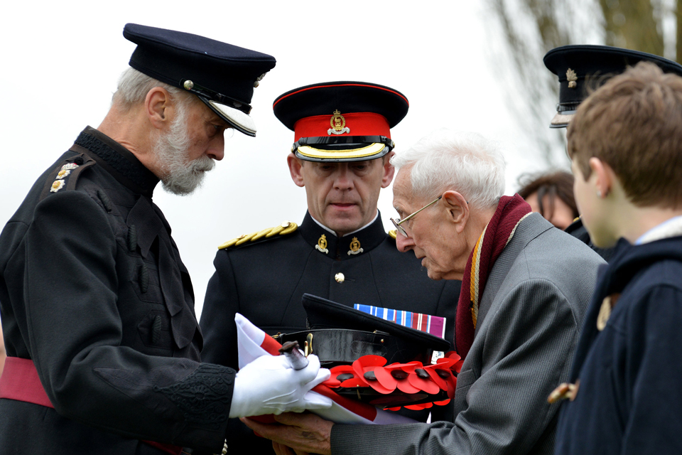 John Harold Shell (centre) and His Royal Highness Prince Michael of Kent