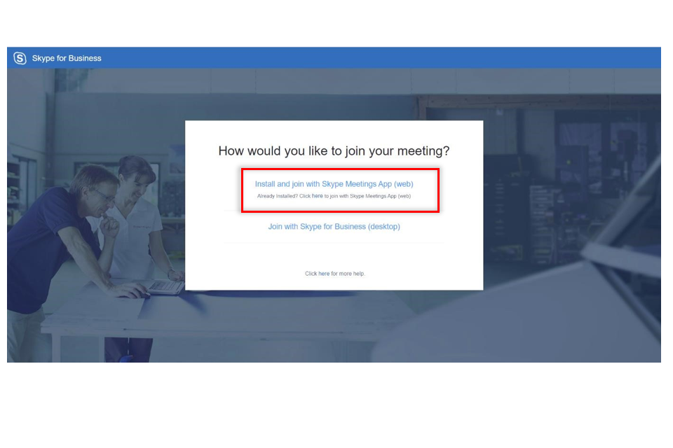 image shows a screenshot with Install and Join button for Skype (web) highlighted in a red box