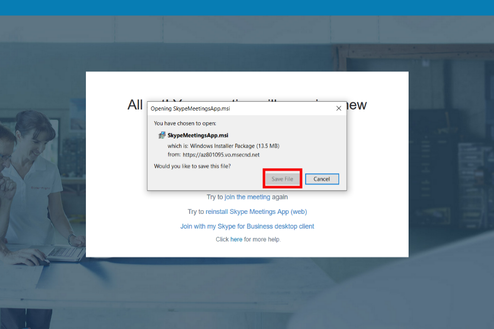 image shows the Skype Package Installer with the 'save file' button highlighted in red