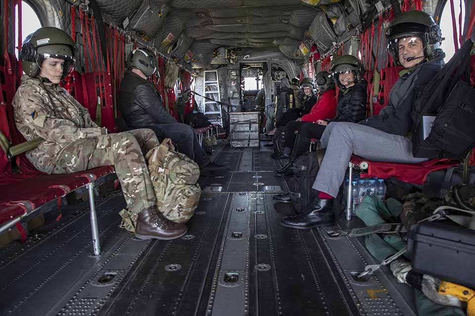 NHS Staff in the back of an RAF Chinook