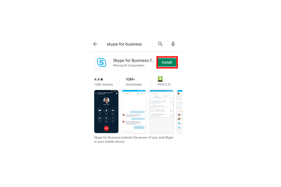 image shows the Play Store app page for Skype for Business with the 'install' button highlighted in red