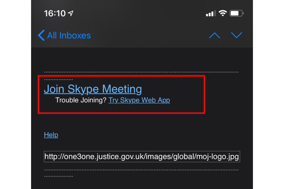 image shows the 'join Skype Meeting' button in an invitation email highlighted in red
