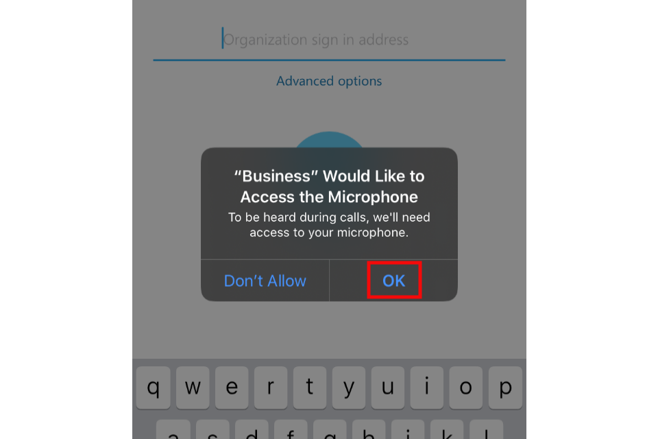 image shows the Skype access request for mic