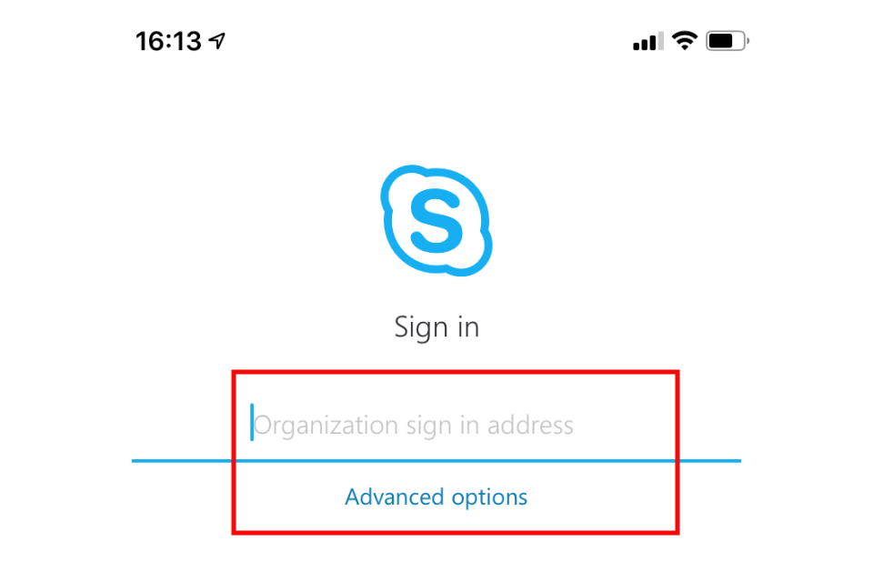 image show Skype sign in page