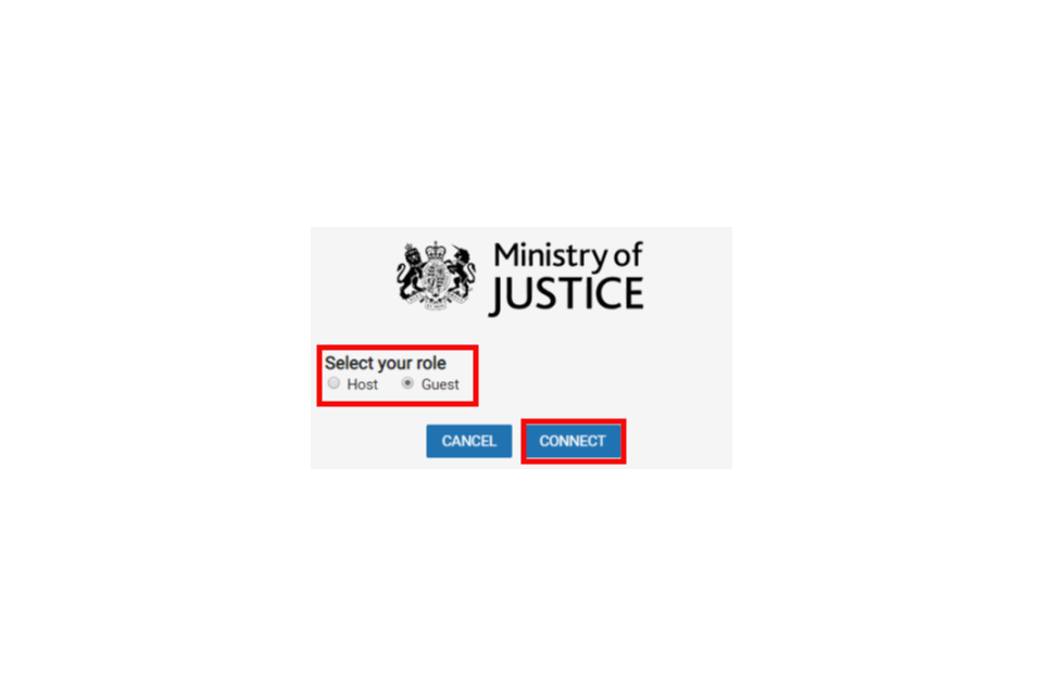 image shows the CVP role choice sign-in page with the 'Guest' button and the 'Connect' button highlighted in red