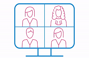 Animated graphic of a computer screen with four people on the screen