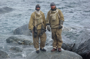 Warrant Officer Class 2 Baz Gray and Petty Officer Seb Coulthard at Point Wild, Elephant Island [Picture: via Navy News]