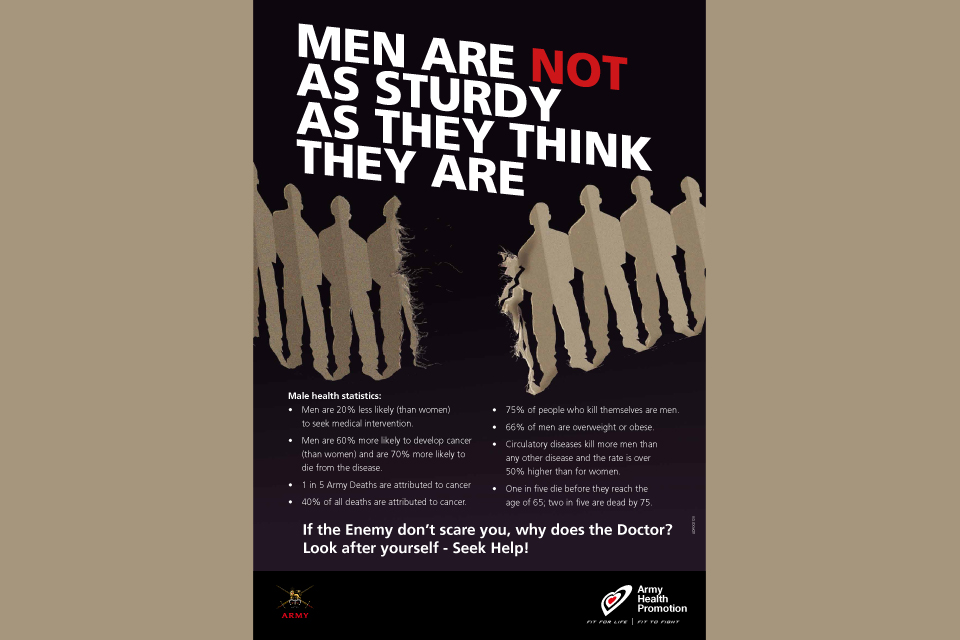 British Army men's health awareness campaign poster