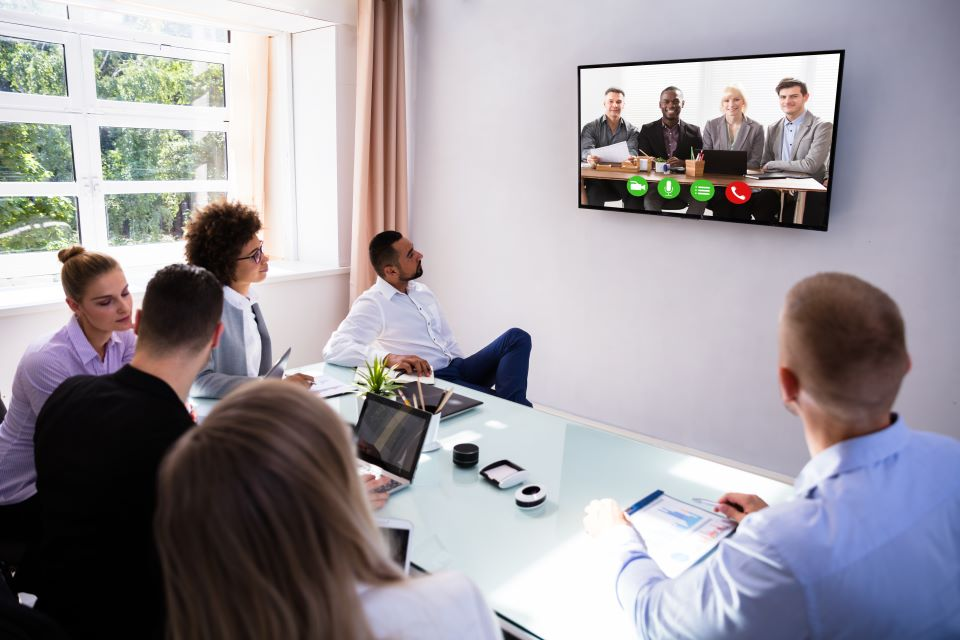 Business meeting and video conferencing