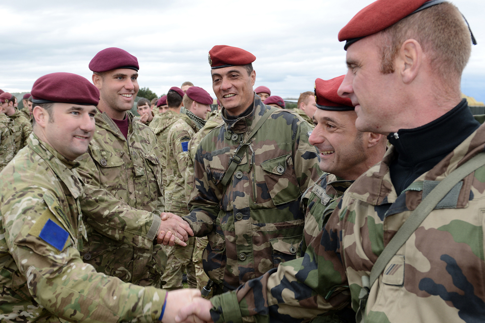 Soldiers from 16 Air Assault Brigade greet French troops