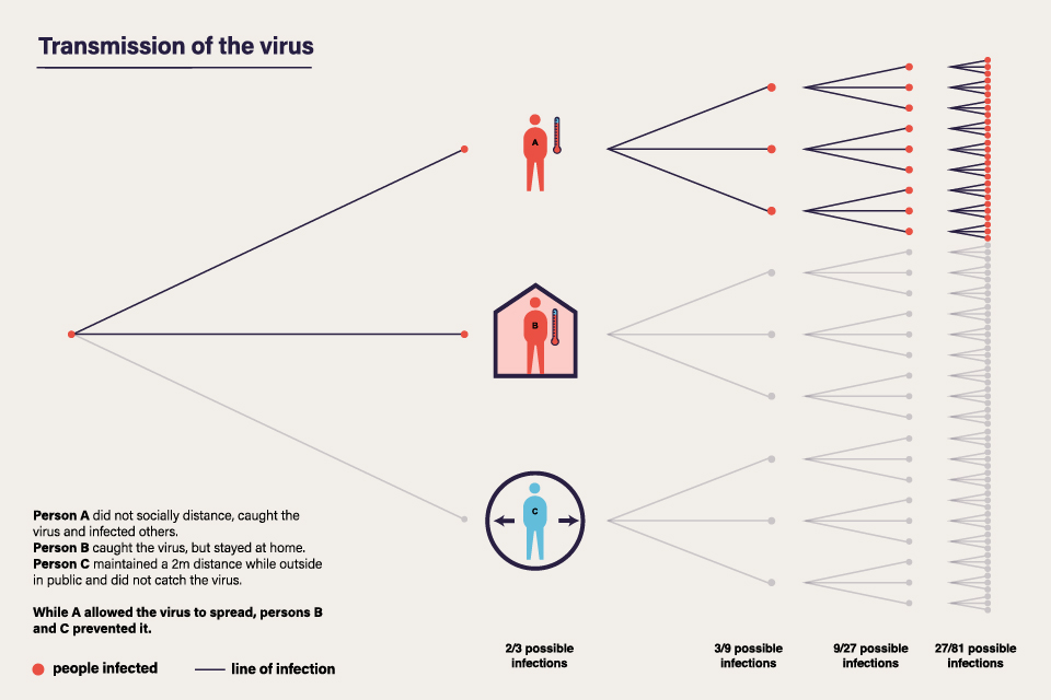 Transmission of the virus - Schematic diagram of the transmission of the virus with an R value of 3, and the impact of social distancing.