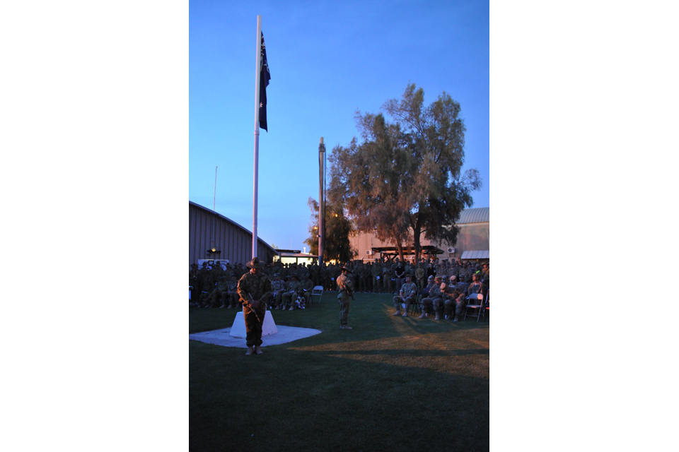 ANZAC Day commemorations at Camp Baker