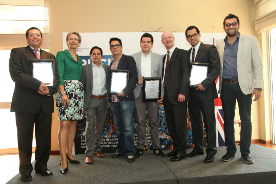 Ambassador Judith Macgregor and the Minister Willetts with the winners.