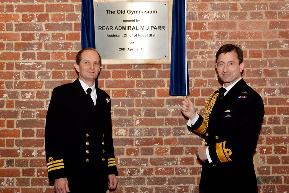 Rear Admiral Matt Parr, Assistant Chief of the Naval Staff, opens the newly-upgraded 'Old Gymnasium'