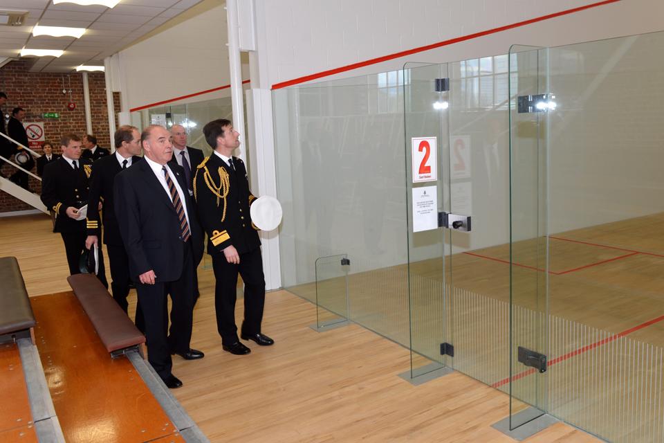Rear Admiral Matt Parr views the new squash courts