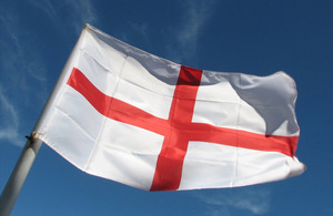 Flag of St George against a blue sky