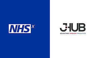 Logos for NHSx on the left and j-Hub Defence Innovation on the right.
