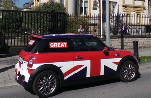 The MINI in front of the British Embassy in Luxembourg